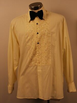 X LARGE  ORIGINAL VINTAGE 1970s  YELLOW DINNER SHIRT WITH BOW TIE & CUFF LINKS.