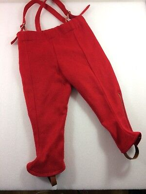Vintage Red Wool Suspender Pants Dungarees 3 4 Lined Leather Foot straps HOLES