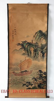 Old Collection Scroll Chinese Painting /Ship & Hill Landscape Painting ZH1010