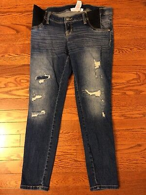 Liz Lange Maternity Ankle Skinny Jeans Denim Dark Blue Distressed size SMALL
