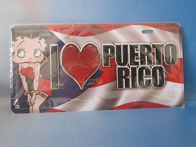Betty Boop  License Plate, I love Puerto Rico