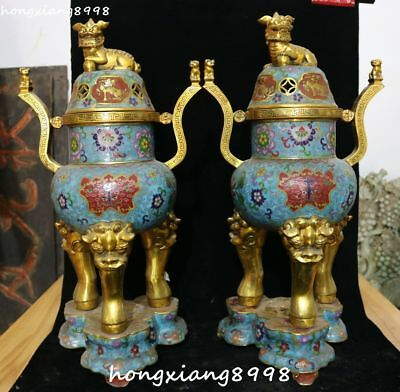 Cloisonne Enamel Gold Gilt Dragon Lion Pixiu Animal Incense Burner Censer Pair
