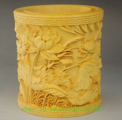 natural wood hand-carved Lotus sculpture brush pen pot Very fine e01