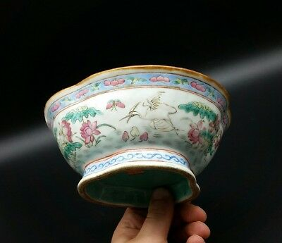 Antique Chinese Porcelain Famille Rose Lobed Bowl With Cranes Flowers And Mark