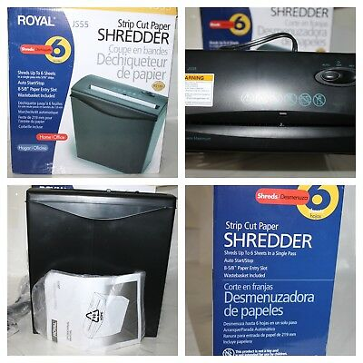 Royal JS55 Strip Cut Paper Shredder 6 Sheet Capacity NEW IN BOX Office (M196111)