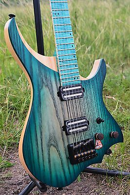 Headless Electric Guitar ASH body Blue Color Fingerboard and Flame maple Neck