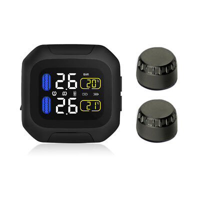 Wireless Motorcycle Waterproof TPMS LCD Tire Pressure Monitoring System MA1444