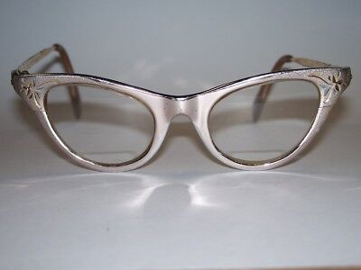 Vintage Clear Lens Cat Eye Office Retro Rockabilly American Optical Glasses Gold