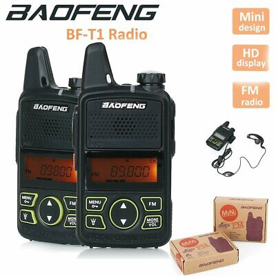 2X Baofeng BF-T1 Radio Walkie Talkie Mini UHF 400-470 MHz FM with PTT Earpiece