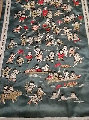 Hundred Boys Chinese Embroidery (Antique Children Kids Playing China Silk