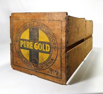 Early 20Th C Pure Gold Wood Vint Wood Box Crate Mutual Orange Dist Redlands, Ca