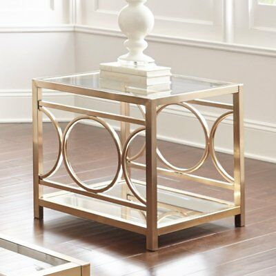 Steve Silver Co Olympia End Table, Gold Chrome