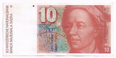 1981 SWITZERLAND 10 FRANKEN NOTE - p53c