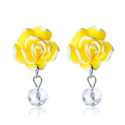1Pair Fashion Women Rose Flower Rhinestone Crystal Ear Stud Earrings Jewelry