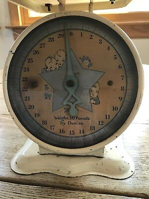 Vintage Pediatric Baby Scale with Wicker Basket-Yellow-Works Accurately!