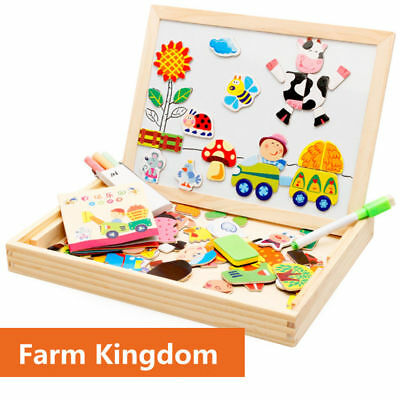 Kids Drawing Board Puzzle Educational Wooden Magnetic Cartoon Jigsaw Toys Gifts