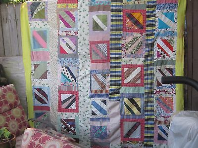 Bright and happy antique folk art quilt TOP,begs to be hung,twin /double, S.C