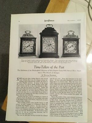 The Antiquarian, December 1928, Time-Tellers of the Past, Antique Clocks