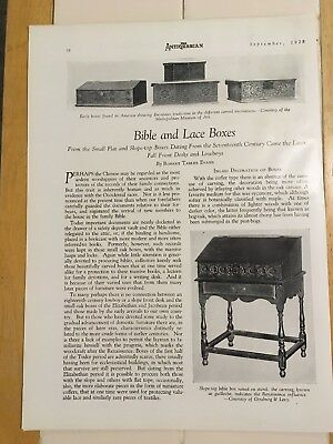 The Antiquarian, September 1928, Bible and Lace Boxes, 17th Century On, Article