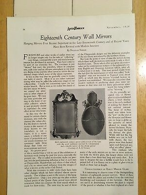 The Antiquarian, November 1928, 18th Century Wall Mirrors, New Orleans Furniture