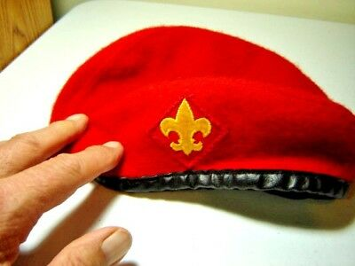 Vintage Official Boy Scout BSA Red Wool Beret Hat Size Medium 6 7/8 - 7 Cap