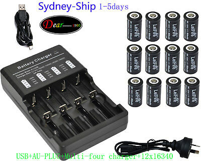 12PCS Camera Rechargeable Battery CR123a RCR123a 16340 3.7v 650mAh+Multi Charger