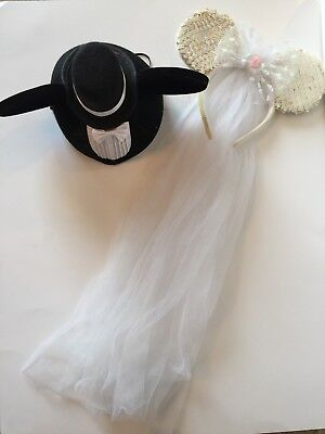 Disney Wedding Bride   Groom Ears Hat Set Mickey   Minnie Mouse Long Veil  Rose cec399a4506
