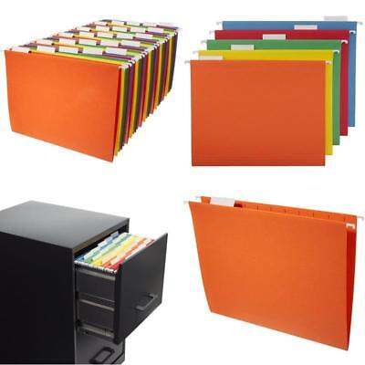 File Cabinet Folders Assorted Colors Hanging Letter Size w/ Tabs Inserts 25 Pack