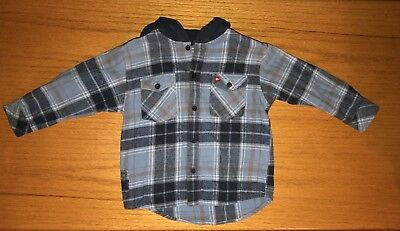 Quicksilver Toddler Boys Blue/Gray Flannel Hoodie 3T Skate Surf
