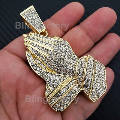 Hip Hop Iced Out 14K Gold Plated Bling Lab Diamond Large Praying Hands Pendant