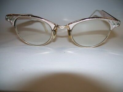 Vintage Clear Lens Cat Eye Office Retro Rockabilly Art Craft Glasses Gold Filled