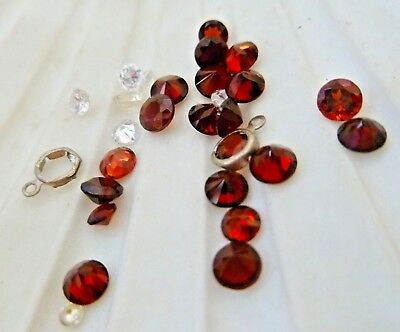 BULK LOT NATURAL GARNET FACETTED STONES. & CRYSTALS 27 pieces