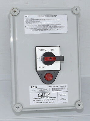 Eaton 6000MBS1PL Electrical  Maintenance Bypass Switch OFF-NORMAL-TEST