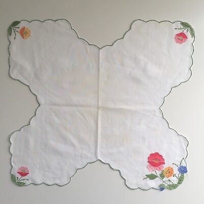 AppliquedScone Doily with Pink Blue Yellow Flowers On White Linen Cross Shaped