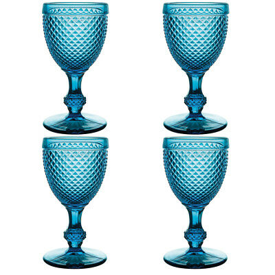 NEW Vista Alegre Bicos Azul Red Wine Goblet Set 4pce