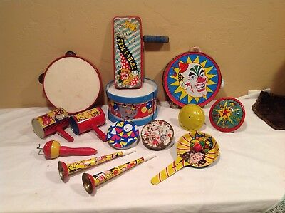 Large Lot Of Vintage Tin Litho Noise Makers