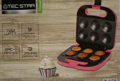 Tec Star SweetMaker 3 in 1 - pink- 700 Watt Cupcake Brownie Popcake Maker
