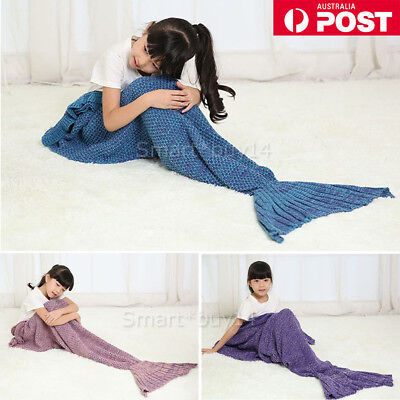 Mermaid Tail Blanket Crochet Knitting Colour Mixed Super Soft for adults Kids