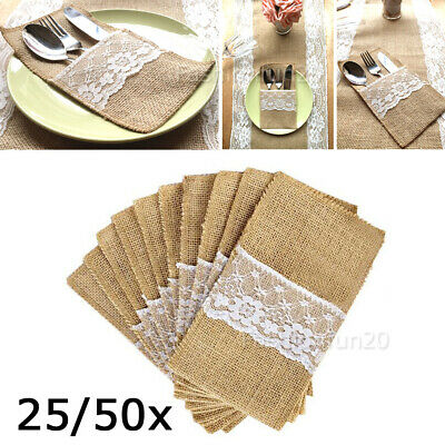 Hessian Burlap Cutlery Holder Lace Rustic Wedding Party Table Decorations