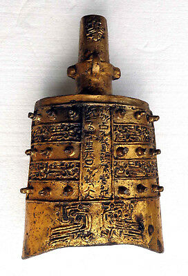 CINA (China): Old Chinese cast iron gilt bell