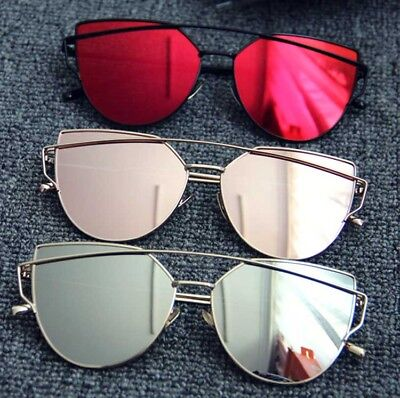 Womens Vintage Mirrored Oversized Sunglasses Metal Flat Lens Outdoor Glasses