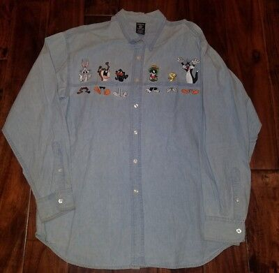 Warner Bros 1997 Looney Tunes Long Sleeve Button up Shirt Size Large