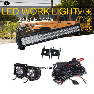 Curved 144W 23 inch Combo Work LED Light Bar OSRAM Offroad White Lights