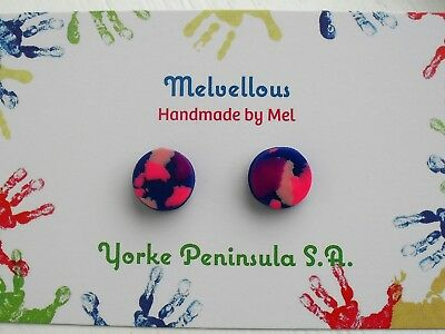 Pink and Navy studs earrings Melvellous polymer clay
