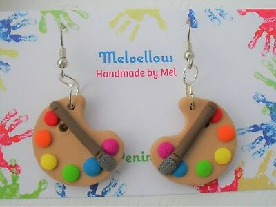 Paint palette earrings dangle Melvellous polymer clay