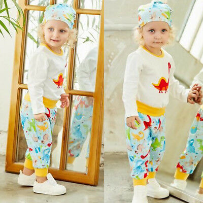 Newborn Toddler Baby Boy Girl Cartoon T-shirt Tops+Pants Outfits Clothes Set
