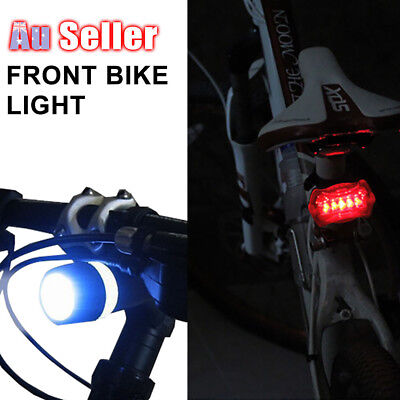 Bike Light Head Taillights Safety Alarm Set Bicycle Cycle White Beam 5 LED Lamp