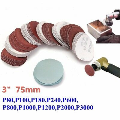 100x 3inch 75mm Sander Disc Mixed 80-3000 Grit Sanding Polishing Pad Sandpaper