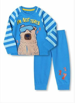 Ex Store Baby Boys I'm Not Tired Bear Blue Pyjamas Sleepwear Age 6 12 18 24 Mths