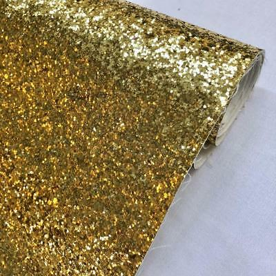 Gold Chunky Glitter Fabric Sparkly Vinyl Taped Backed Material Decor Walls 54""